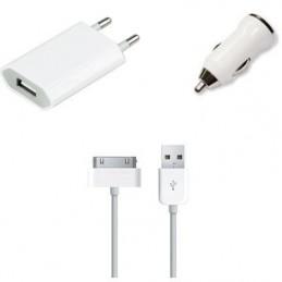 Kit 3 em 1 Carregador Tomada e Isqueiro Iphone 3GS 4 4S Ipad e Ipod
