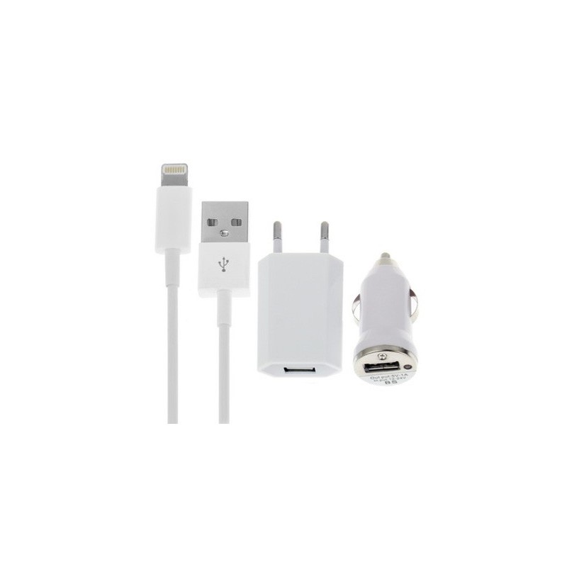 Um conjunto indicado para carregar Iphone onde quer que esteja. Inclui carragador AC, carregador de isqueiro e cabo USB. Para nunca ficar sem bateria