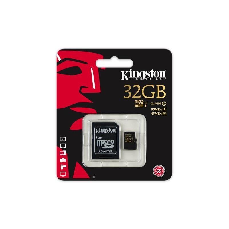 O cartão de memória Micro SD Kingston 32 GB é uma ótima opção de armazenamento extra para o teu tablet, smartphone ou câmara fotográfica