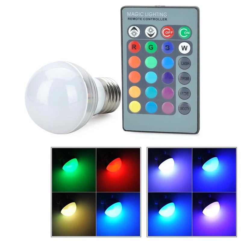 Lâmpada LED 3W Multicolor com Comando