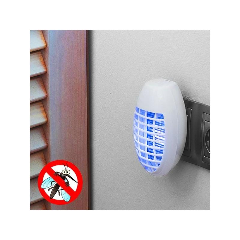 Anti-mosquitos atrai os insetos através de uma lâmpada azul fluorescente e puxa-os diretamente para a grade elétrica através do seu sistema de sucção.