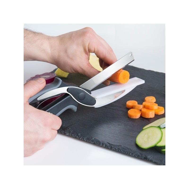 A revolucionária faca de corte 2 em 1 que corta e fatia os seus alimentos favoritos em segundos!