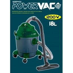 Aspirador Powervac aspira sólidos e líquidos, com 1200 W de potência, Filtro Hepa, com função Sopro e auto-limpeza e capacidade para 18 litros.