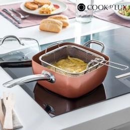 Frigideira cerâmica multifunções Deluxe Antiaderente com revestimento de cerâmica, incluí acessório para fritar e cozinhar a vapor.