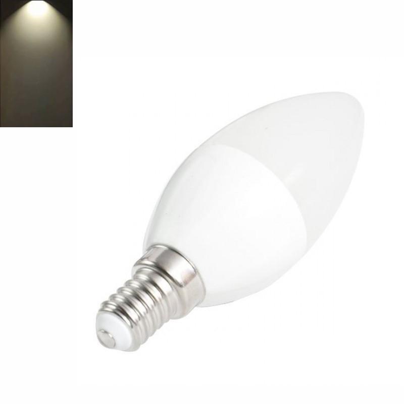 Lâmpada LED E14 Vela 6W 480 Lm Luz Neutra - 4200K, Consomem até 85% menos energia para produzir a mesma luz do que uma lâmpada tradicional.