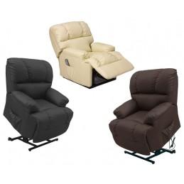 Este sofá possui um sistema que permite que o sofá levante e desça permitindo que a pessoa se sente ou saia do sofá sem efetuar qualquer esforço.