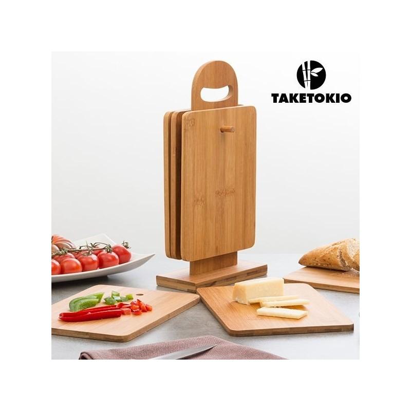 Não deixe escapar este conjunto com 6 tábuas magnificas e o seu suporte, da para todos os tipos de aperitivos ou comida.