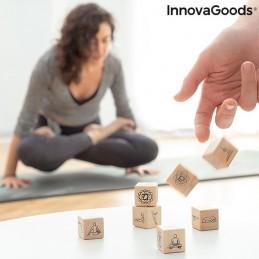 Conjunto de Dados de Yoga em madeira - 7 Peças, com praticas e combinações.