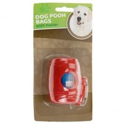 Porta-sacos para excrementos de cao, com 15 sacos de plastico para recolher os excrementos que o cao deixa no passeio ou no parque