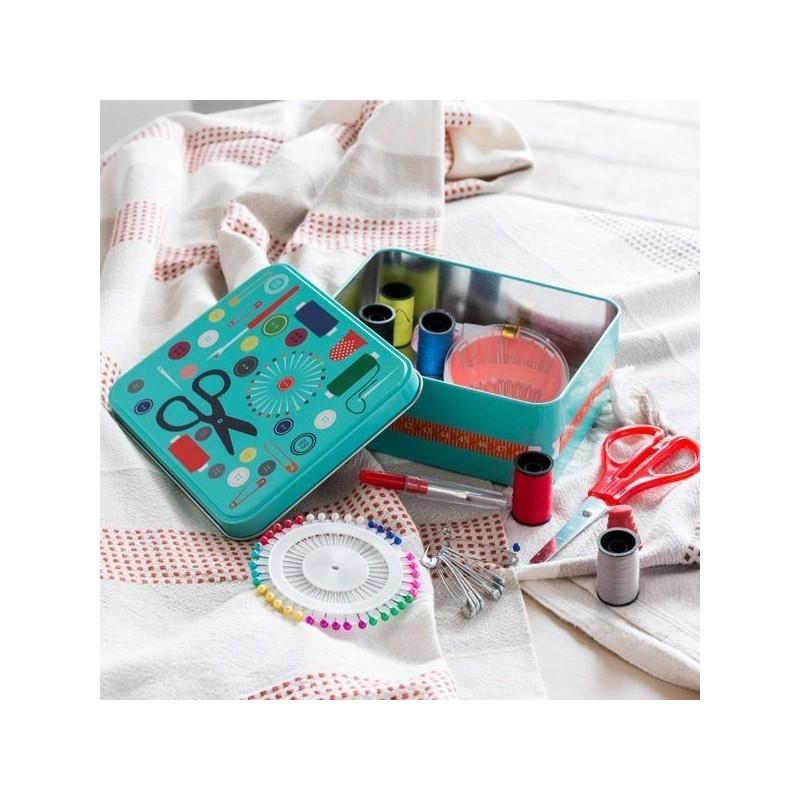 Caixa de Costura com Acessórios- Metálica, perfeita para os pequenos arranjos na sua roupa entre outros.