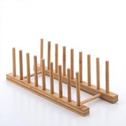 Um acessório em bambu muito prático para secar a louça, com um design moderno e original que vai decorar a sua cozinha.