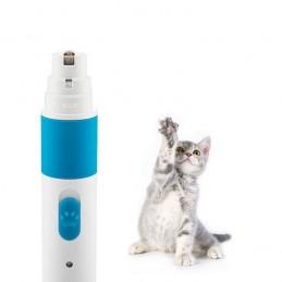 Uma lima de unhas elétrica para animais de estimação com duas velocidade e vários tipos de lima adaptadas ao tamanho do animal.