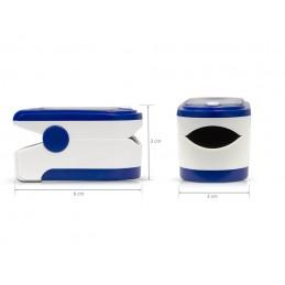 Oxímetro de dedo compacto e leve, que permite medir a saturação de oxigénio no sangue e o ritmo cardíaco.
