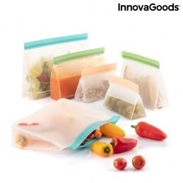 Um conjunto de 6 sacos reutilizáveis com fecho hermético para transportar alimentos ou guardá-los no frigorífico ou no congelador - até mesmo líquidos