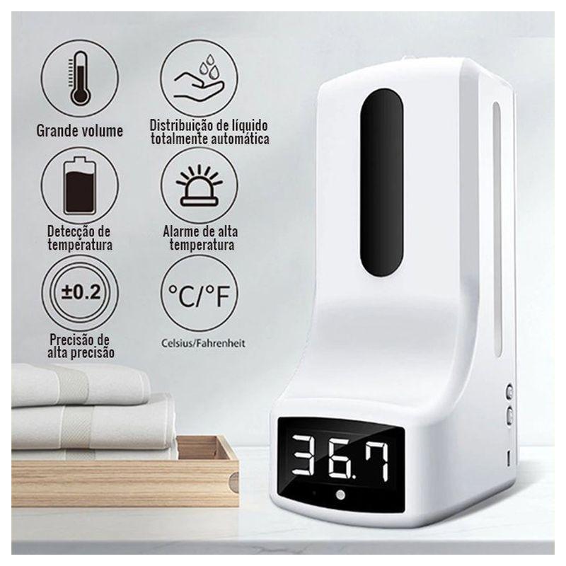 Dispensador de gel desinfestante com sensor de temperatura. Um equipamento imprescindível para o momento em que atravessamos.