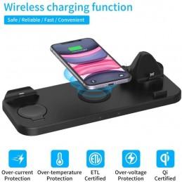Uma base de carregamento sem fios 6 em 1 que carrega o seu telefone Apple e Android.