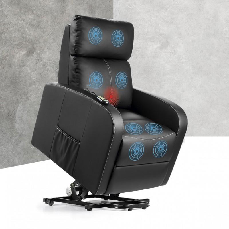A Poltrona de Massagem é uma poltrona com um design elegante que incorpora um sistema de massagem por ondulação e calor lombar.