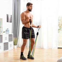 Um conjunto de 5 elásticos de resistência ajustáveis com acessórios que irão ajudar a realizar uma série de exercícios para braços, ombros, peito, glúteos