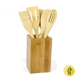 Um conjunto de Utensílios para Cozinha muito prático e útil, fabricado em bambu que será um fantástico elemento decorativo na sua cozinha.