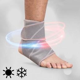 Um suporte para o tornozelo muito eficaz para aliviar dores crónicas ou para curar lesões e golpes, graças ao seu efeito frio ou quente