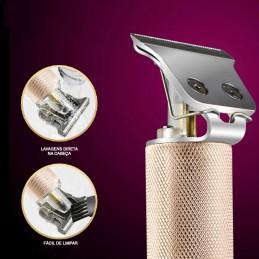 Com uma lâmina em forma de T de cerâmica de aço de titânio, pode realizar os mais variados designs , a sua lâmina permite também barbear a seco.