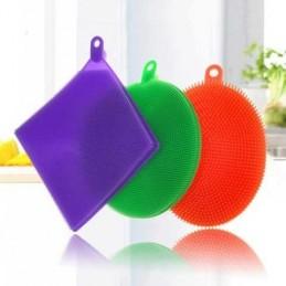 A esponja em silicone é uma alternativa extremamente prática e simples para a limpeza de louças, alimentos e objetos em geral - Pack de 3 Unidades